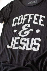 Coffee and Jesus Raw Neck Tee (Black)