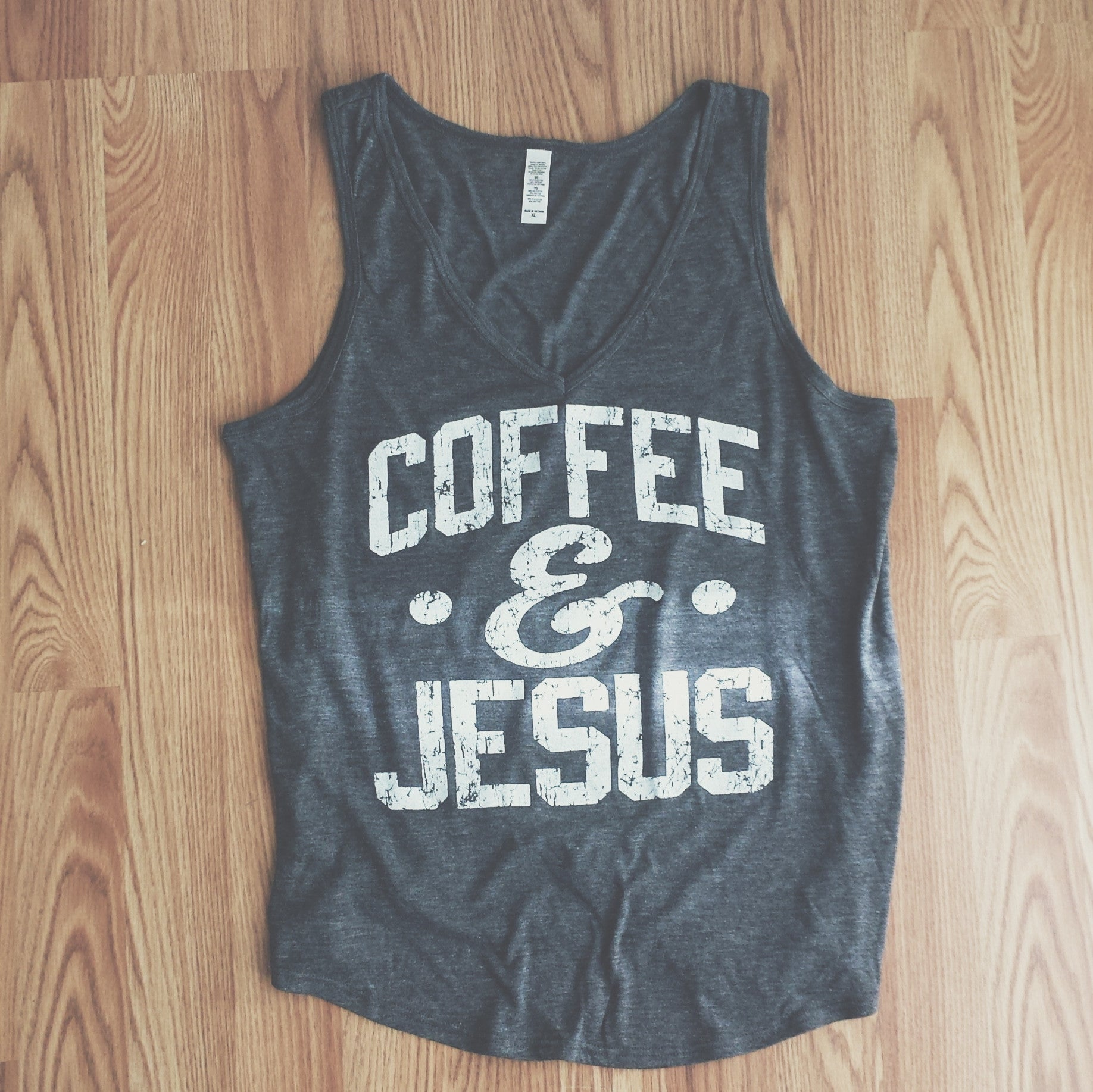 Coffee and Jesus Grey V-Neck Tank