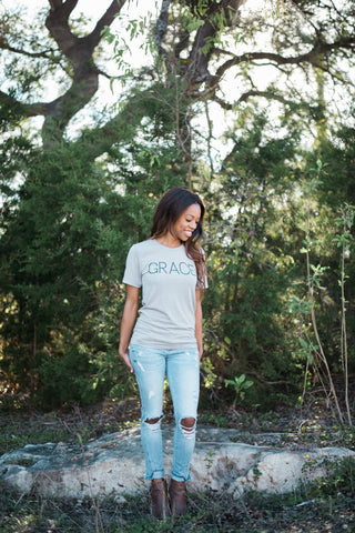 Grace - Grey Crew Neck Tee (currently restocking)