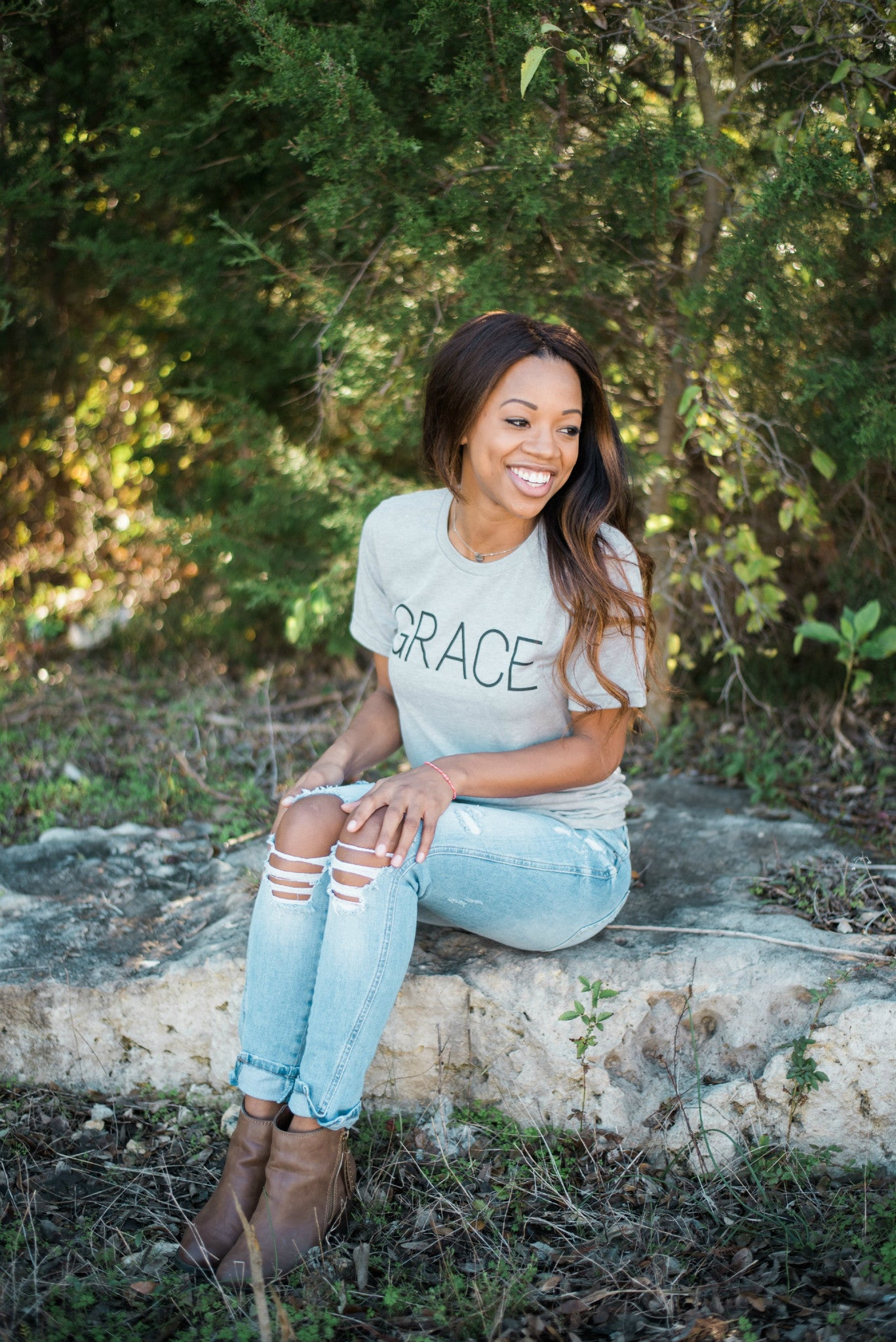 Unisex Grace Grey Crew Neck Tee