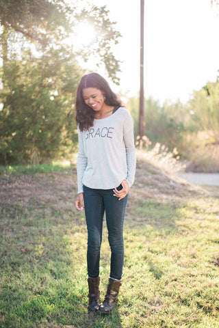 Grace Long Sleeve Tee (Grey)