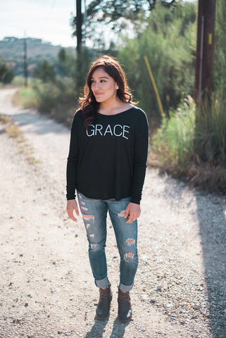 Grace Long Sleeve Tee (Black)