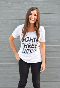 Unisex John 3:16 Tee (White Speckled Crew Neck)