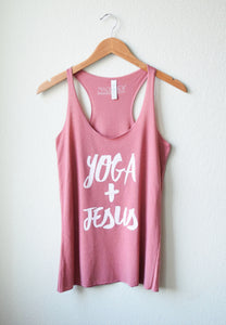 Yoga and Jesus Pink Racerback Tank