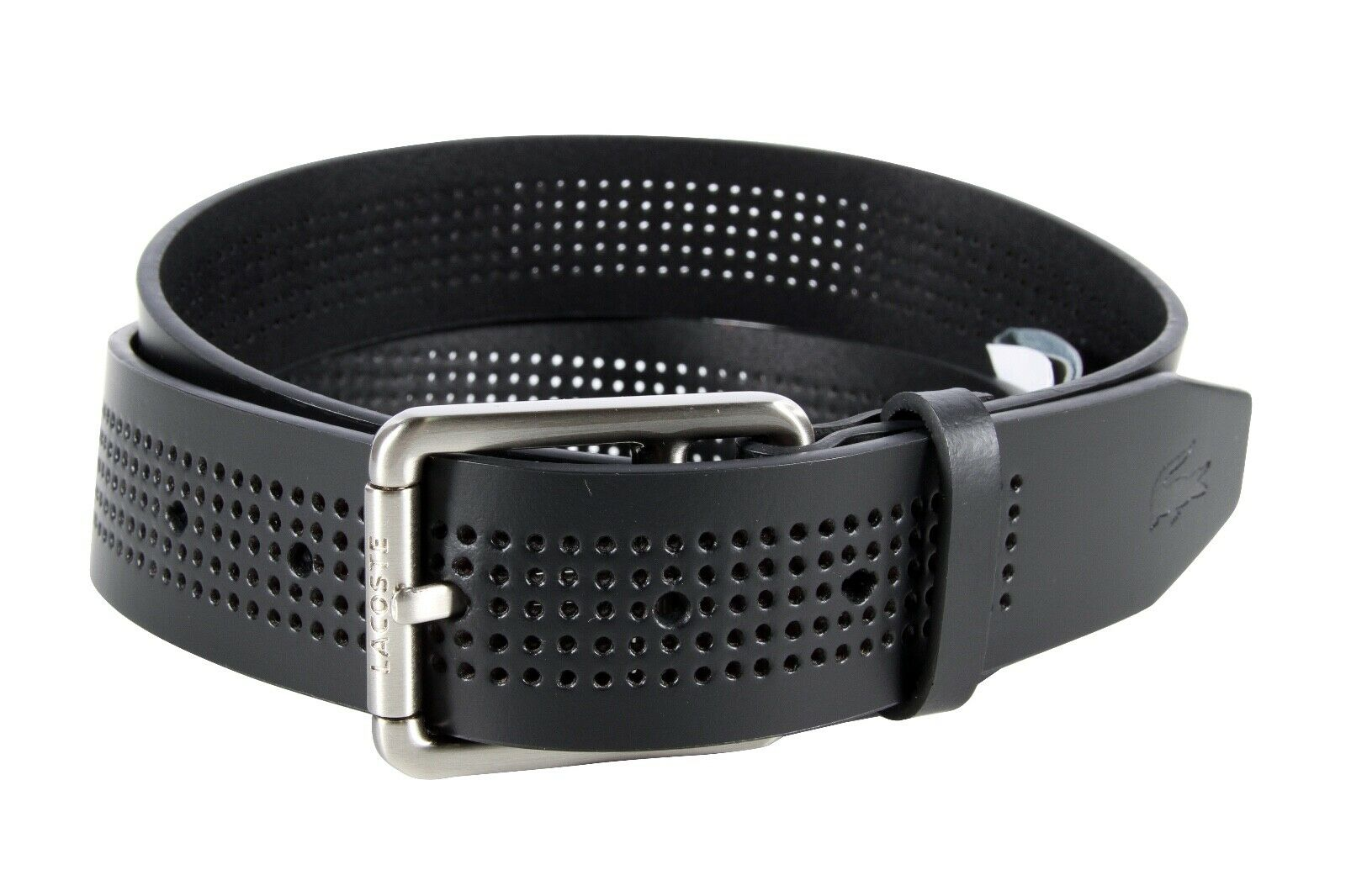 Lacoste Men's Perforated White Leather Belt With Roller Buckle RC3013 H01