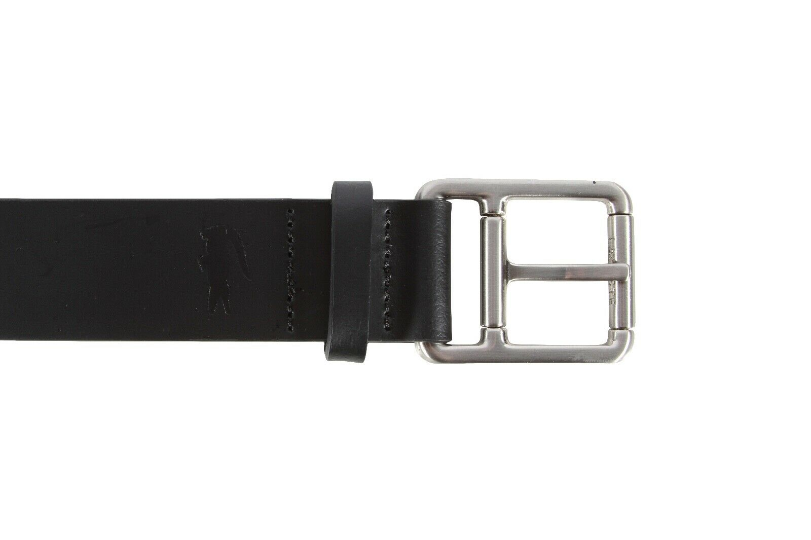 09a894538 ... Lacoste Men s Perforated Black Leather Belt With Roller Buckle ...