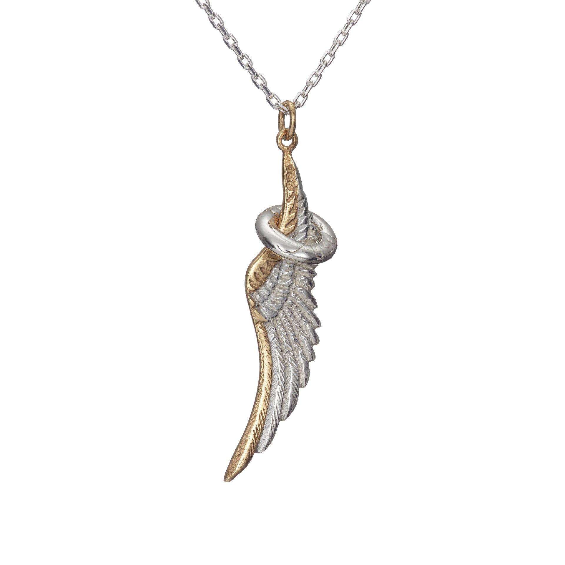Guardian angel pendant, sterling silver handcrafted in Cavan by Elena Brennan Jewellery
