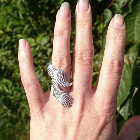 The gorgeous curvey angel wing ring by Elena Brennan Jewellery