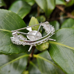 A closer look at the back detail of the Military Brooch handmade in Ireland by Elena Brennan.