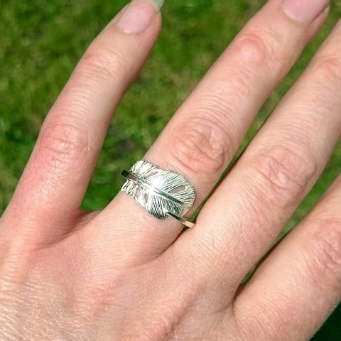 """""""Cherish"""" the gorgeous Baby Angel Feather Ring handmade with love by Elena."""