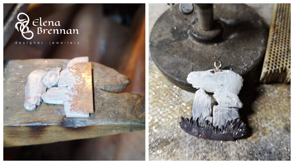 A close look at the depth and soldering of the unique dolmen pendant by Irish Designer Elena Brennan.