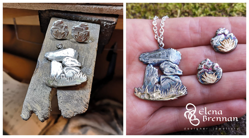 The Dolmen Pendant is complete with matching stud earrings.