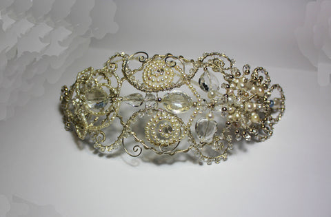 Finished Bridal Headpiece designed and handcrafted by Elena Brennan Jewellery in Cavan, Ireland
