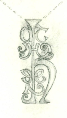 Initial Sketch of Bespoke Jewellery. Handcrafted Irish design, made my Elena Brennan in Cavan Ireland.
