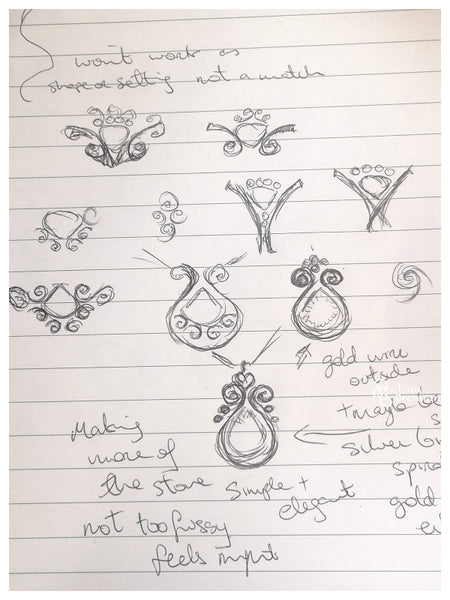 Some initial sketches of the Mount Everest Pendant.