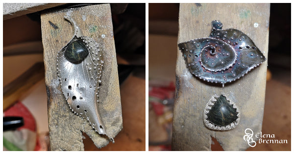 Trying the Mount Everest Pendant stone in different one off pieces of jewellery.