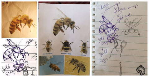 Sketching the initial design concept for the honeybee pendant commission.