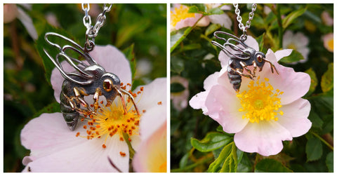 The bespoke honeybee pendant having fun in the garden before going to his forever home!