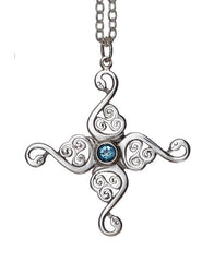 The Four Swan Lir Cross with a Topaz Gemstone from the Children of Lir Collection