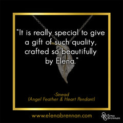 Elena Brennan Jewellery Customer Testimonial on the Angel Feather and Heart Pendant.