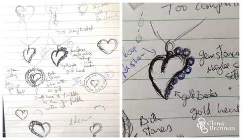 The design process behind the 14ct Gold Heart Birthstone Pendant