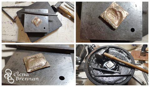Working in the jewellery studio, hammering 14ct gold into a heart shaped pendant.