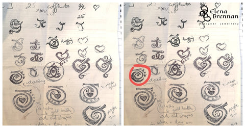 Initial sketches of the commissioned bespoke wedding anniversary cufflinks by Elena Brennan Jewellery