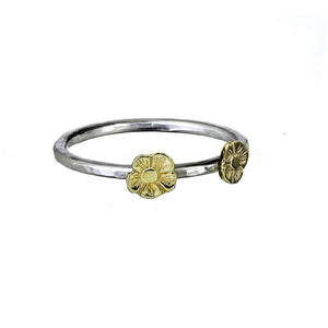 Beaten stacking ring handcrafted from sterling silver with 9ct Gold tiny flowers.