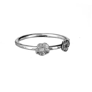 Two Tiny Flower Stacking Ring in Sterling Silver.