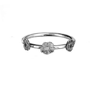 Three Tiny Flower Stacking Ring in Sterling Silver.