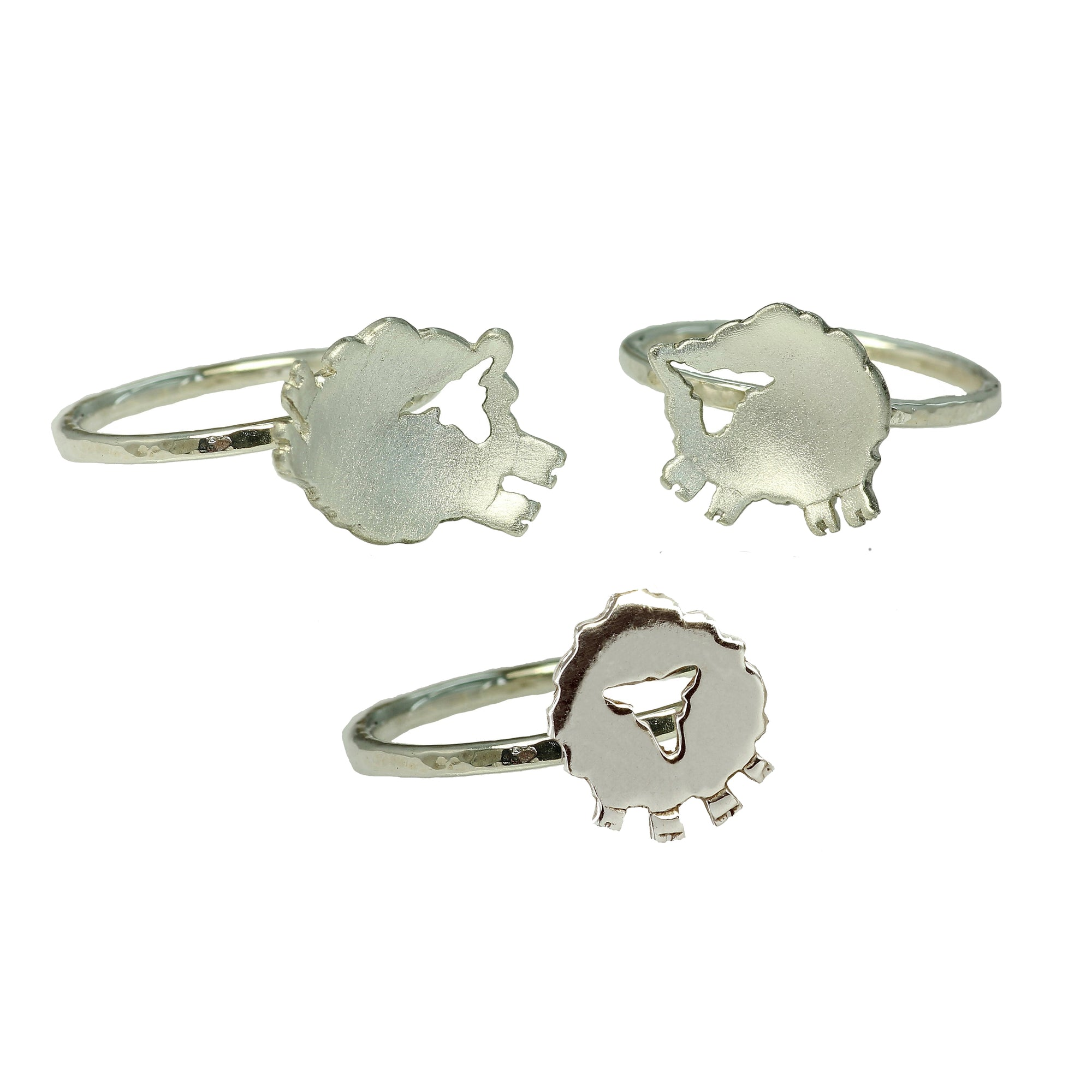 Three handcrafted Sterling Silver Irish Sheep Rings.