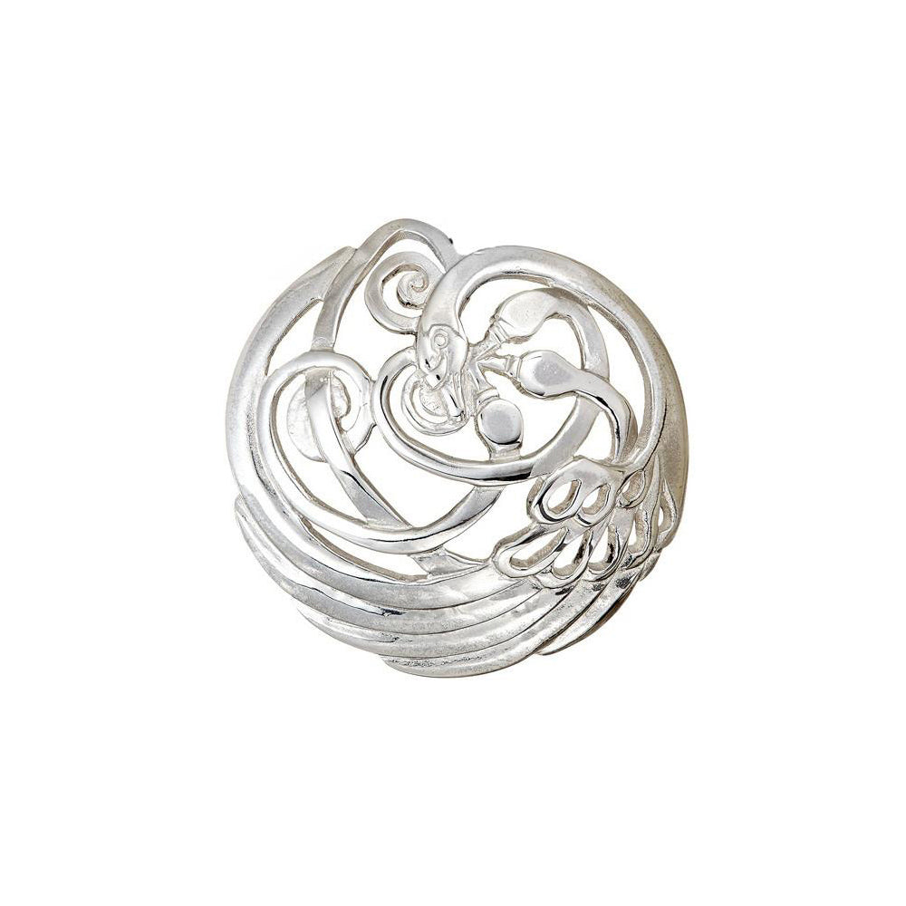 Swan Domed Brooch. Sterling Silver Jewelry that makes the perfect gift to buy for a loved one!