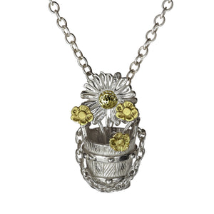 Bucket Full of Flowers Pendant