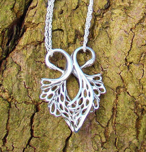 Children of Lir Heart Shaped Swan Pendant detail. Jewellery made from Sterling Silver.