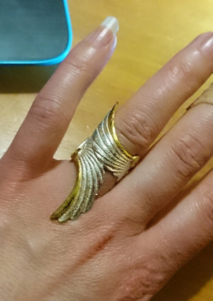 Long Angel wings ring, sterling silver, made in Ireland, by Elena Brennan Jewellery