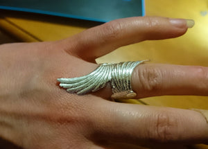 Long Angel wings ring, sterling silver, made in Ireland, madecby Elena Brennan Jewellery