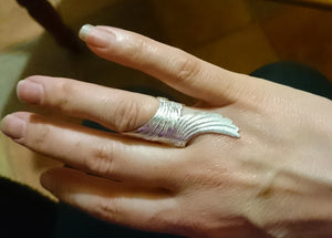 Angel wing ring, sterling silver, big and beautiful.