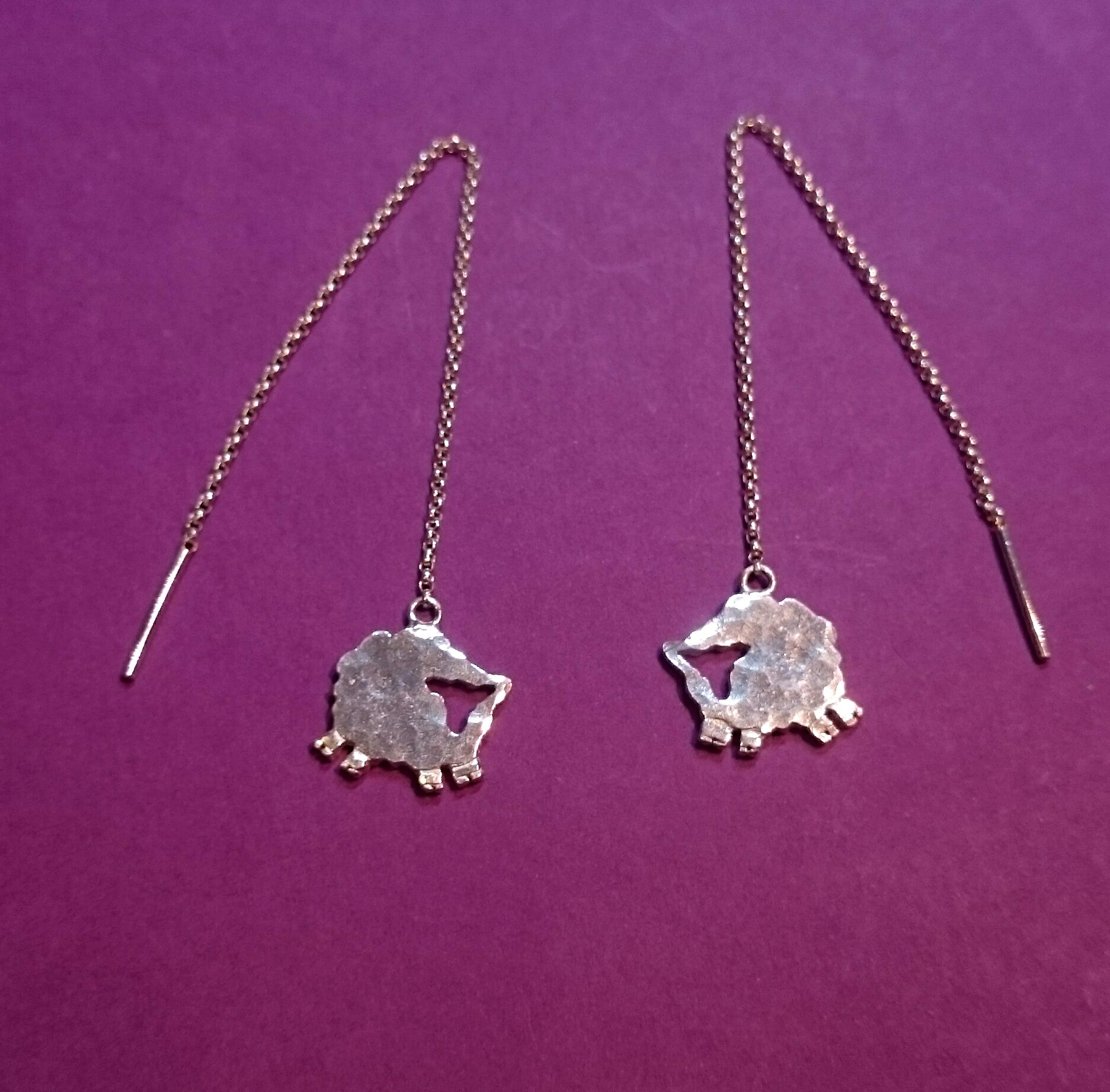 Jumping for Joy Sheep Pull Through Earrings, from Elena's Simply Sheep Jewellery Collection.