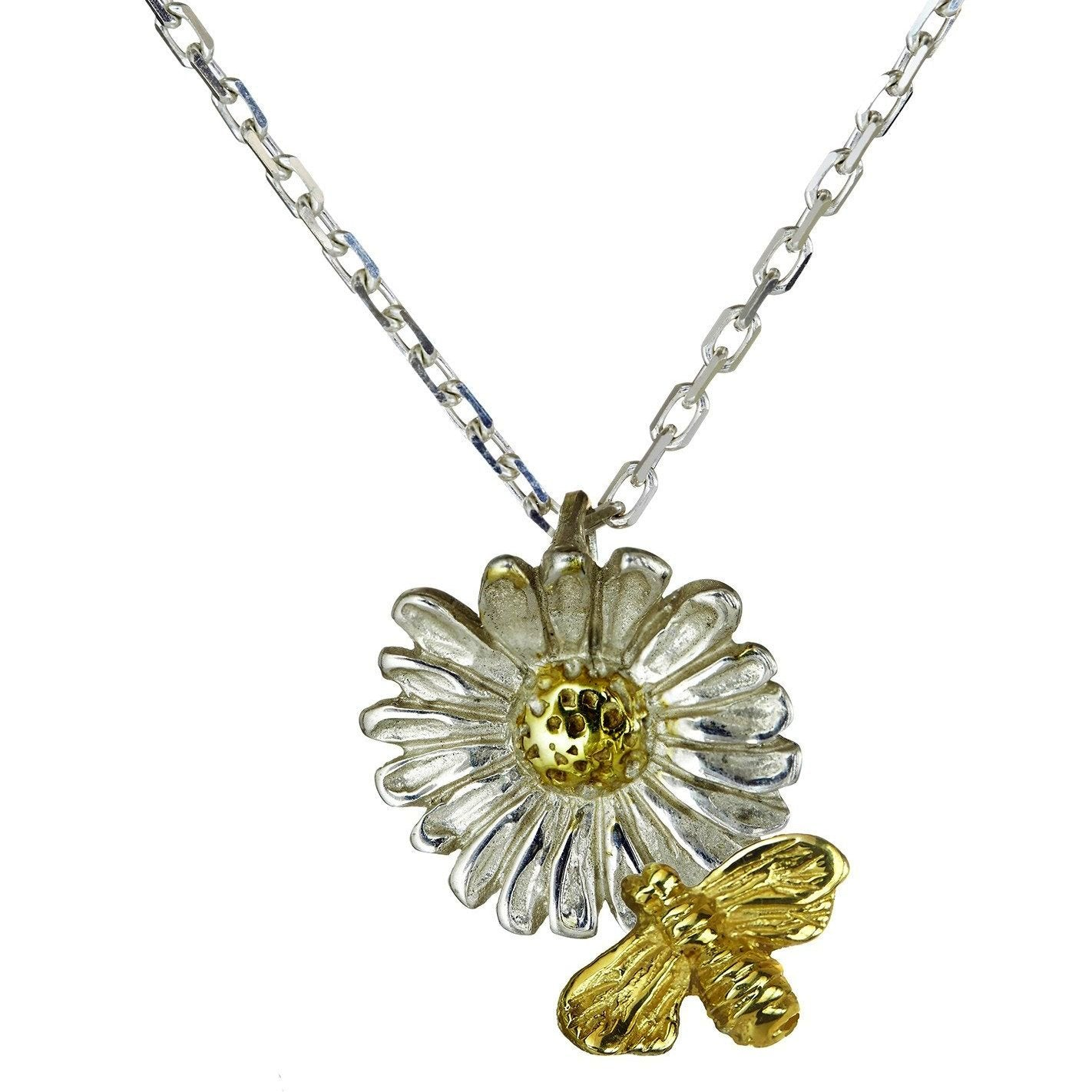 """Tell it to the Bees"" Pendant with a Sterling Silver Daisy with a gold plated centre and a 9ct Gold Bee."