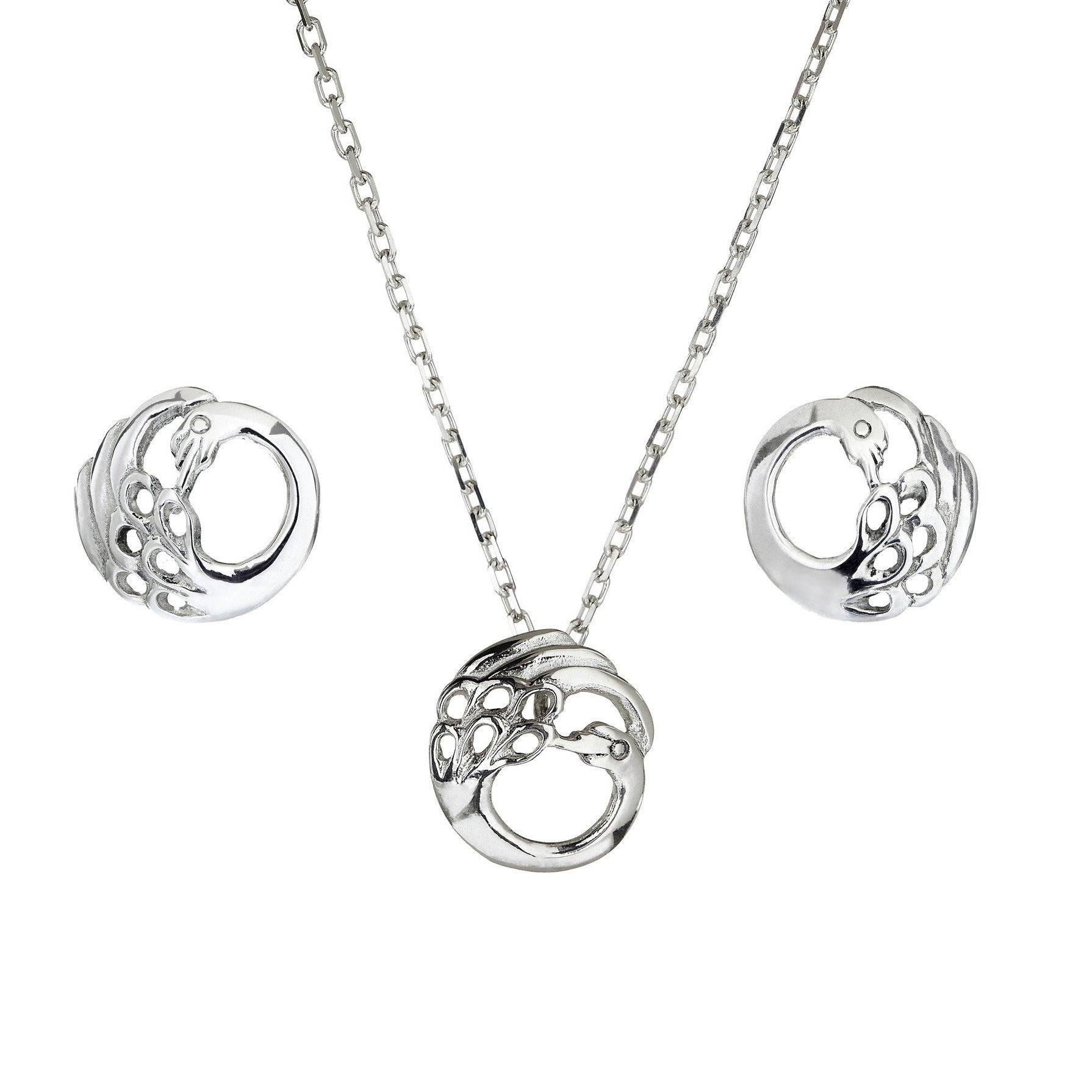 Swan Stud Earrings, Necklace & Pendant. A sterling silver  Irish Jewellery set.