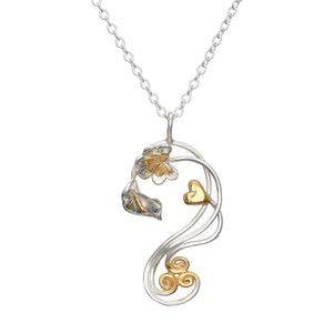 Éireann 1916 Pendant handcrafted from Sterling Silver with 14ct Gold Irish Symbols.