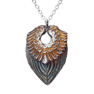 Sterling Silver oxidised Angel Wings Pendant with a gold heart on the inside, a special gift for a loved one!