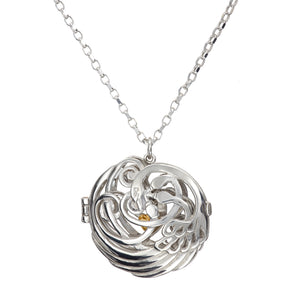 Children of Lir silver locket with 4 swans, made in Ireland.