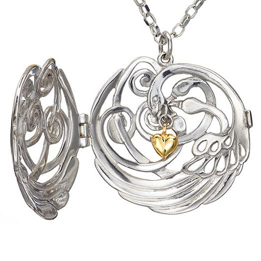 Loving swans locket sterling silver with 14ct gold heart. Irish made Elena Brennan Jewellery