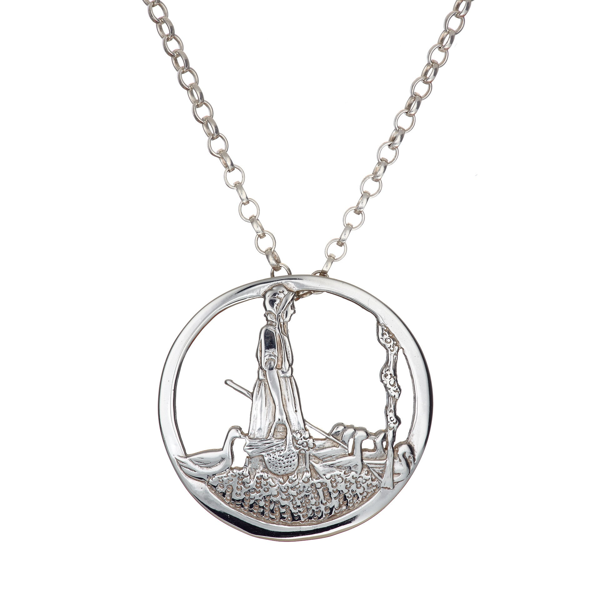 Goose Girl Pendant is handcrafted from Sterling Silver