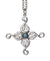 Swan Cross Pendant. Sterling Silver with topaz blue gemstone detail.