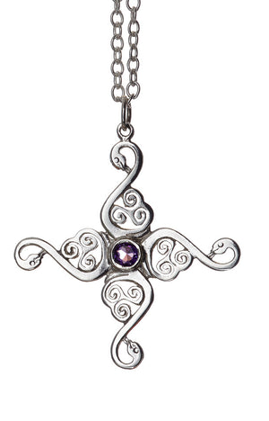 Swan Cross Pendant. Sterling Silver with amethyst gemstone detail.