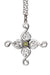 Swan Cross Pendant. Sterling Silver with peridot gemstone detail.