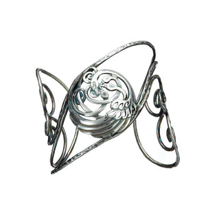 Sterling Sliver Children of Lir Four Swan Bangle with medalion and tri-spiral. Made in Ireland.