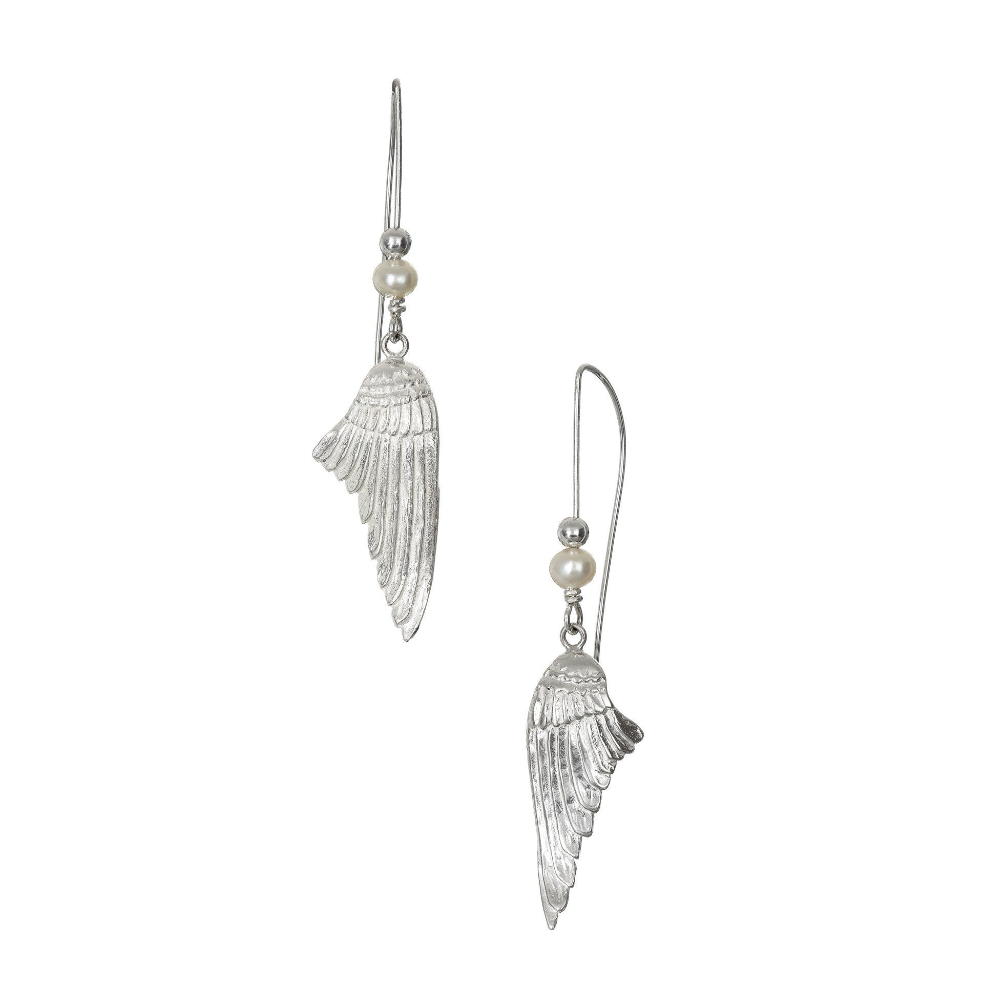 These sterling silver angel wing drop earrings handcrafted by Elena Brennan Jewellery.